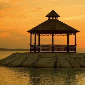 Beach Weddings Abroad Jamaica Weddings Wedding Couple Gazebo At Sunset
